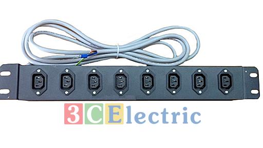 Ổ cắm điện PDU C13, 08 ổ cắm có dây nguồn dài 2m