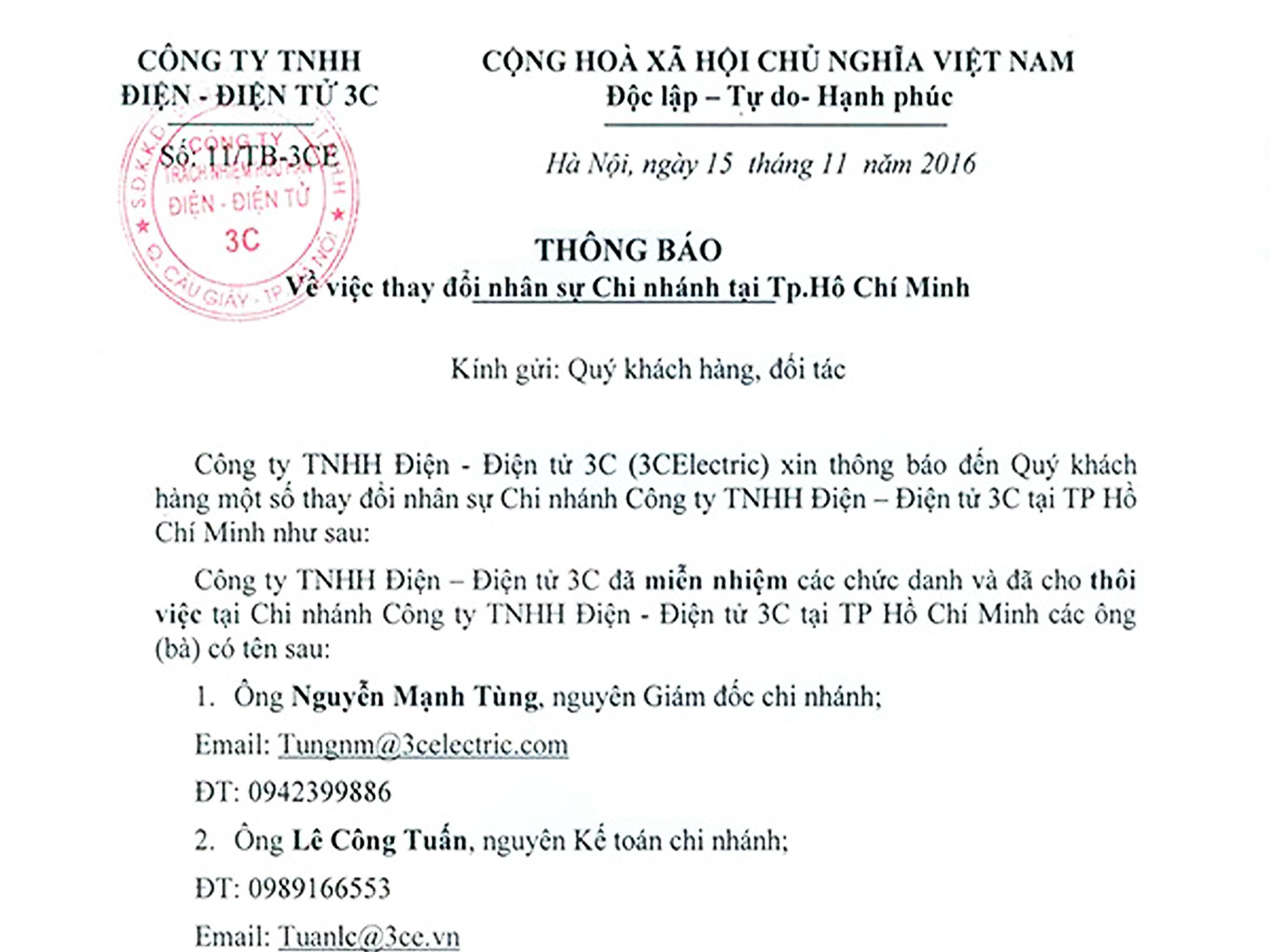 3CElectric thông báo thay đổi nhân sự chi nhánh Tp.Hồ Chí Minh