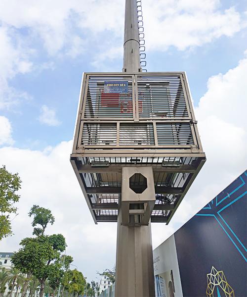 trạm bts mini shelter lắp cột anten monopole
