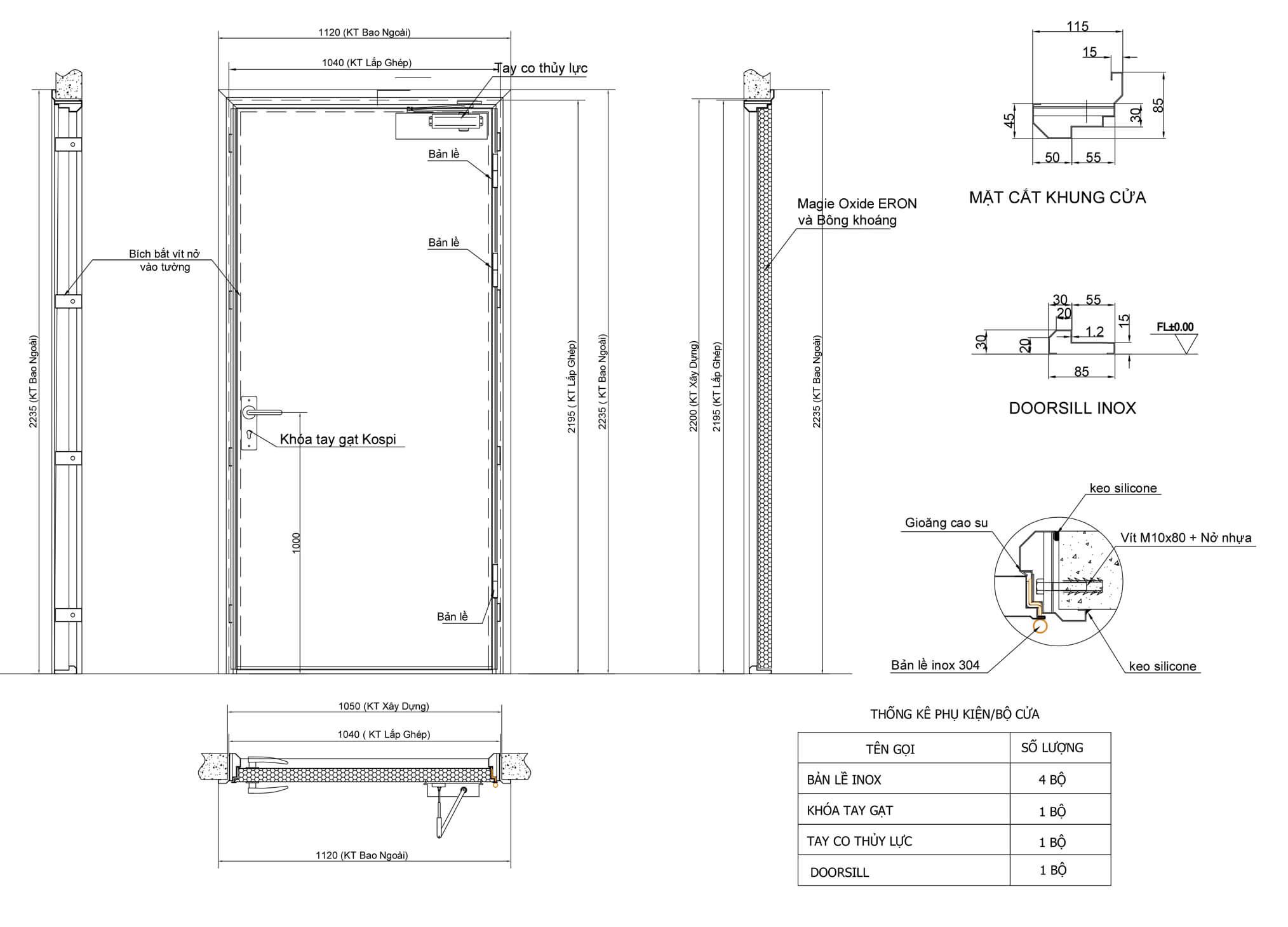 bản vẽ kỹ thuật cửa thép ngăn cháy 1 cánh
