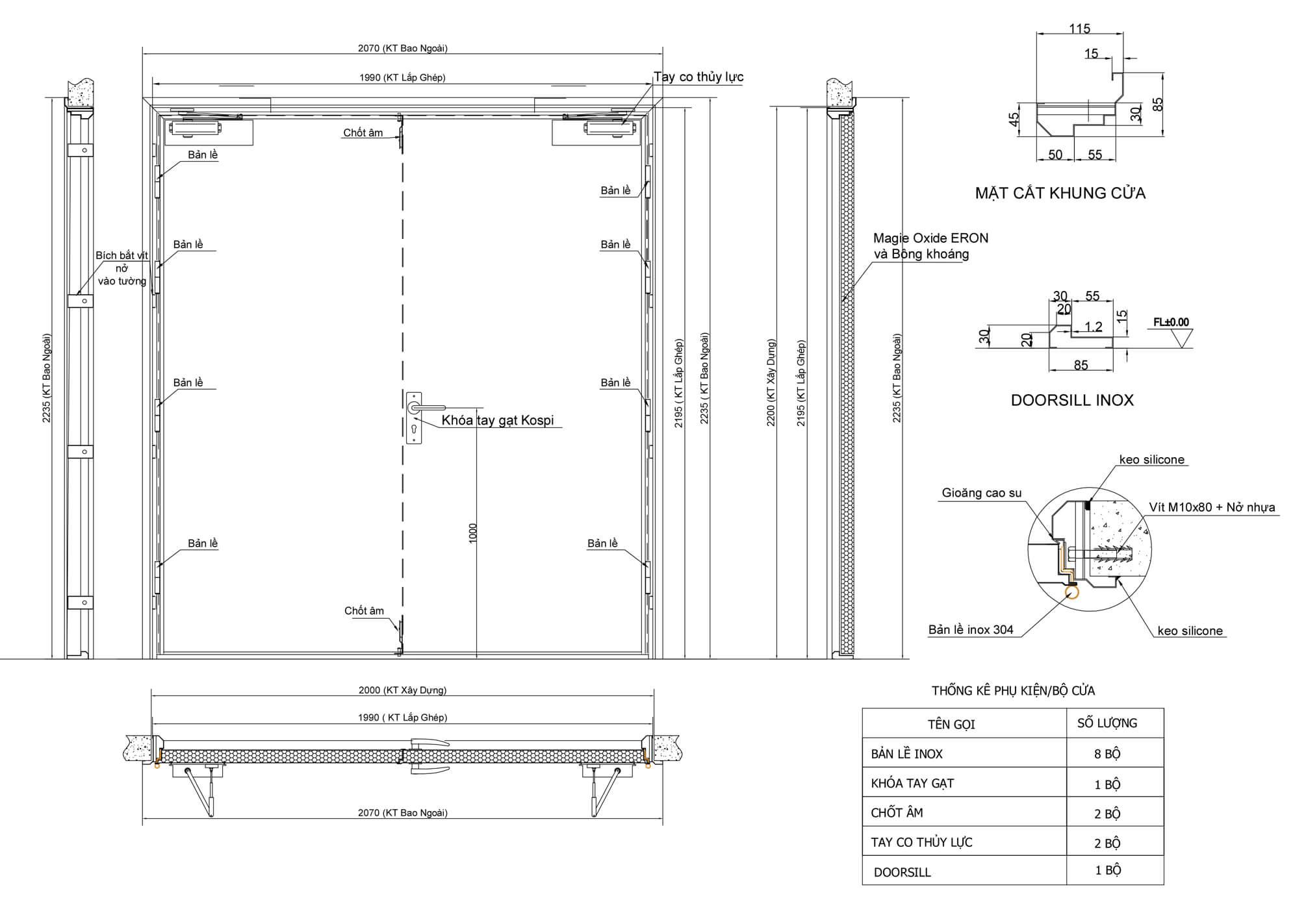 bản vẽ kỹ thuật cửa thép ngăn cháy 2 cánh